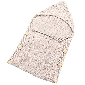 Baby Blankets Swaddle Wrap Wood Button Knitting Sleeping Bag Envelope - Beige