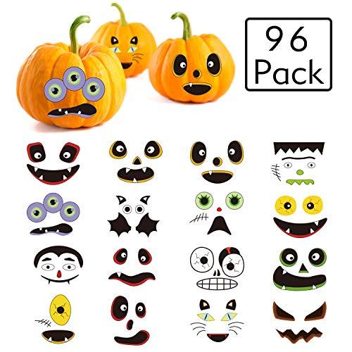 96 Pack Halloween Pumpkin Stickers,Halloween Stickers Halloween Pumpkin DIY Decorations Party Sticker Trick or Treat Party Supplies