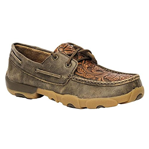 Twisted X Men's Tooled Driving Mocs Tan 8 D Tooled Leather Shoes
