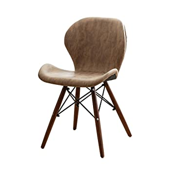 Amazon.com - QYJ-Dining chair Kitchen Chair Brown Leather ...