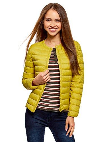 Amarillo Redondo Acolchada Chaqueta con Mujer 5200n Cuello Ultra oodji CnqT0t