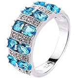 XAHH Jewelry Womens 925 Sterling Silver Plated Aquamarine Light Blue Cubic Zirconia CZ Wedding Ring 8