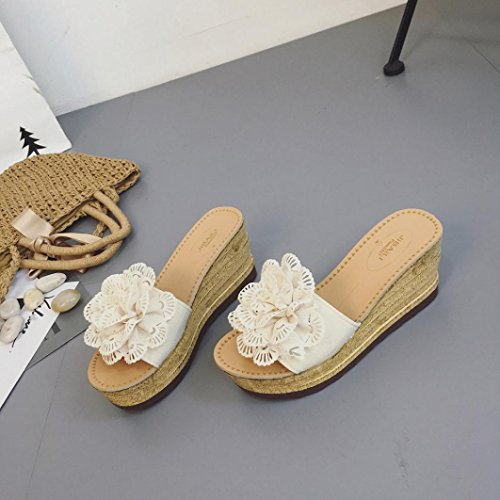 Hatop Fashion Dames Zomer Bloemenplateau Dames Sandalen Sleehak Sloffen Schoenen D