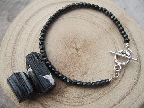 Genuine Black Tourmaline Bracelet,3 mm,Karen hill tribe silver clasp,Healing bracelet, Size - 6,6.5,7,7.5,8,8.5