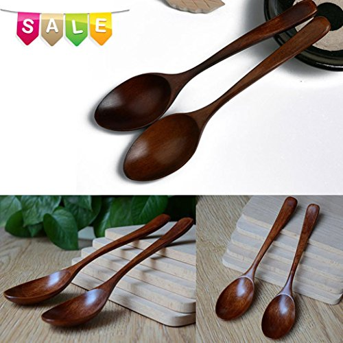 Hot Sale!DEESEE(TM)Korean Lot Wooden Spoon Bamboo Kitchen Cooking Utensil Tool Soup Teaspoon (Princess Teaspoon)