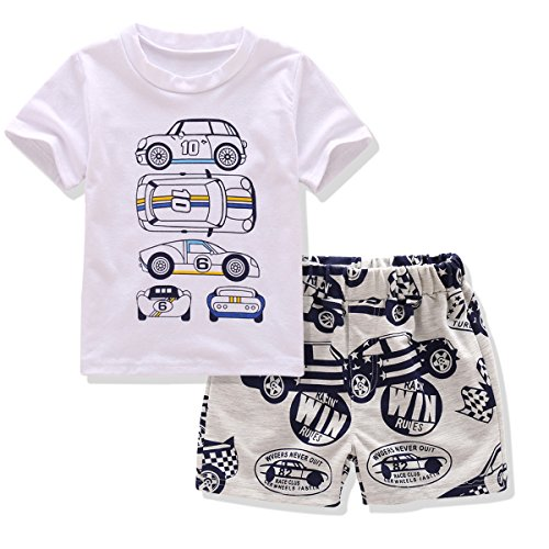 Little Boy Short Sleeve Outfit, Toddler Short Sets 2PCS Car Print Tee & (Halloween 2017 Party Chicago)