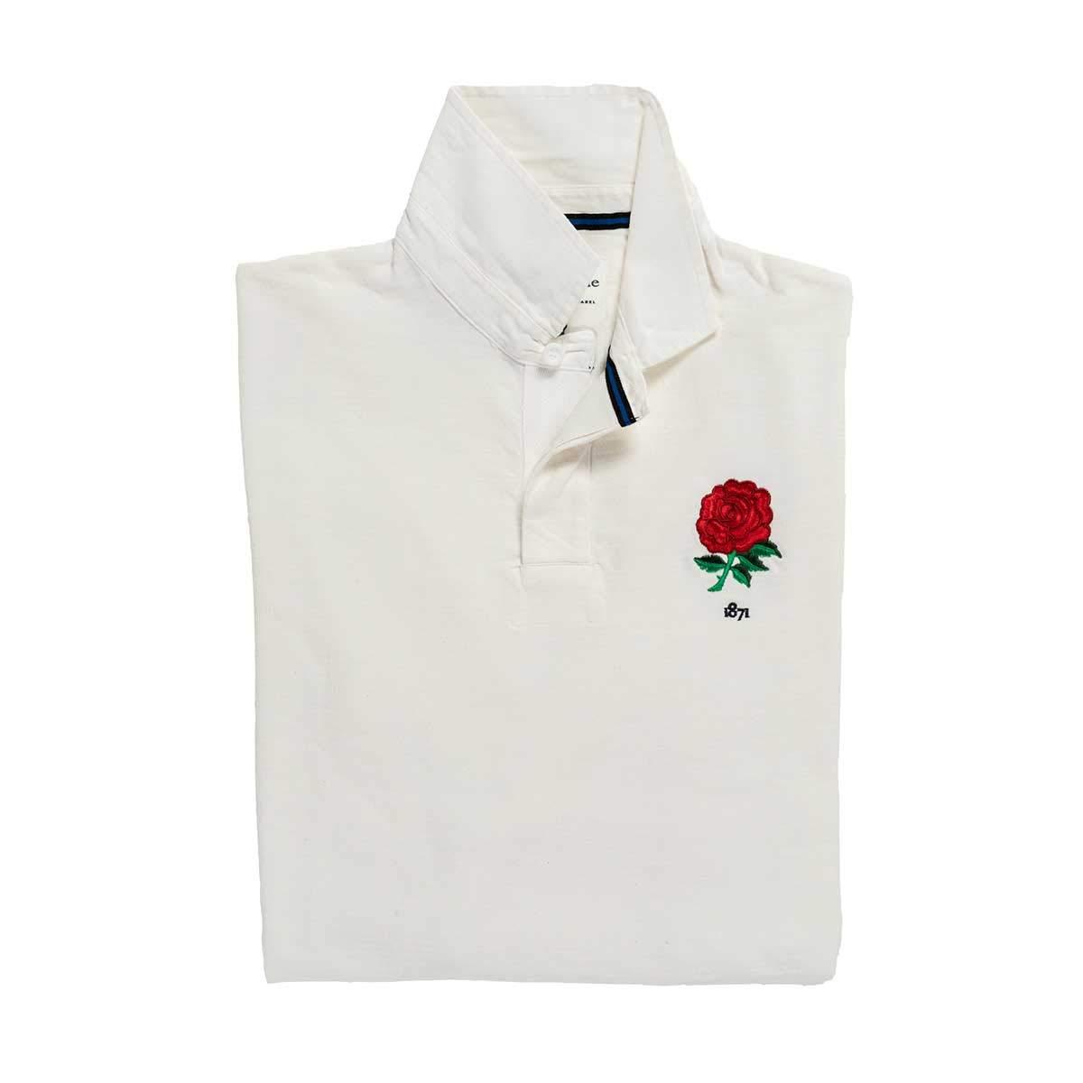 ブラック&ブルーイングランド1871ラグビーシャツ、ホワイト-M