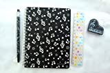 Music Themed Black Musical Notes Notebook, Mechanical Pencil, 15cm Ruler and Eraser Stationery Set