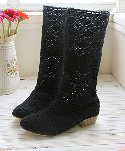 Black Spring boots boots boots hole female hole knitted and leg summer shoes high breathable fashion qwCxBgqr6