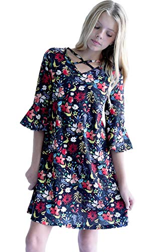 Smukke, Big Girls Crisscross Neck and Tiered Ruffles Sleeves Dress (Many Options) 7-16 (8, Black Floral)