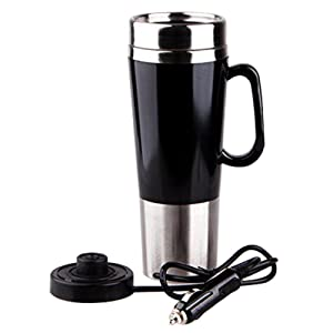 400ml Vacuum Insulated Stainless Steel Travel Mug Car Cup with charger car Boiling Mug Electric Kettle Boiling Vehicle Thermos DC12V Heating Cup Applicable to the Boiling Water Coffee Milk and Tea