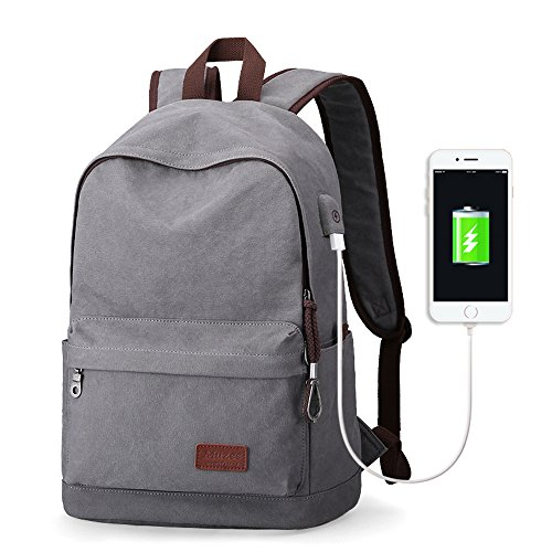 "Eshow Mochila de Carga USB para Portátiles de hasta 15.6"" Bolso Mochila de Tela Escolar Viajes Senderismo Camping gris"