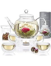 Teabloom Complete Tea Set - Stovetop Safe Glass Teapot with 12 Flowering Teas, Tea Warmer, 4 Double Wall Teacups & Removable Glass Infuser for Loose Leaf Tea - Celebration Flowering Tea Gift Set