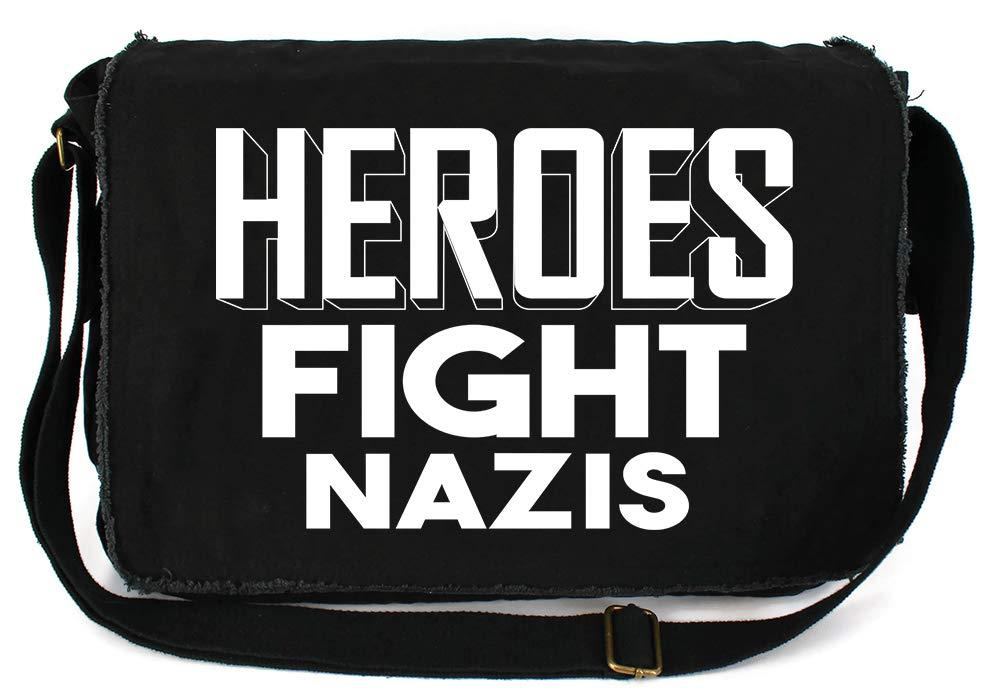 Tenacitee Heroes Fight Nazis Maroon Brushed Canvas Messenger Bag