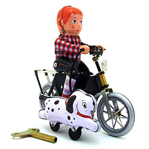 JunLai888 Nostalgic Clockwork Chain Toy Vintage Wind Up Tin Toys Collectibles Bicycle Model Decoration (Multicolor) from JunLai888