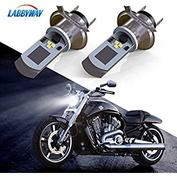 LABBYWAY 2 Pcs H4 LED Bulb Super Bright 900 Lumen Motorcycle Headlights Lamp High Low Beam Lights Used for Suzuki Kawasaki BMW Yamaha Honda,Xenon White