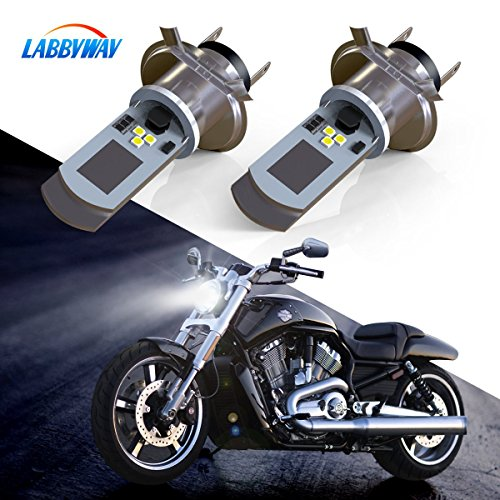 LABBYWAY 2 Pcs H4 LED Bulb Super Bright 900 Lumen Motorcycle Headlights Lamp High Low Beam Lights Used for Suzuki Kawasaki BMW Yamaha Honda,Xenon ()