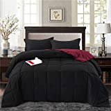 HIG 2pc Down Alternative Comforter Set - All Season Reversible Comforter with Sham - Quilted Duvet Insert with Corner Tabs -Box Stitched - Hypoallergenic, Soft, Fluffy(Twin/Twin XL, Black)