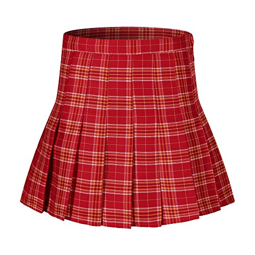 Beautifulfashionlife Girl's Pleated Checked Slim Tennis Skirt School Uniform Costumes (S,Red White)]()