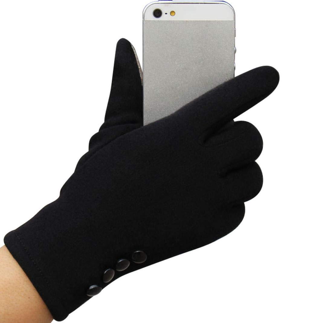 Fashion Womens Winter Gloves Outdoor Sport Warm Gloves Cotton Touchscreen Mittens Hanican (Black)