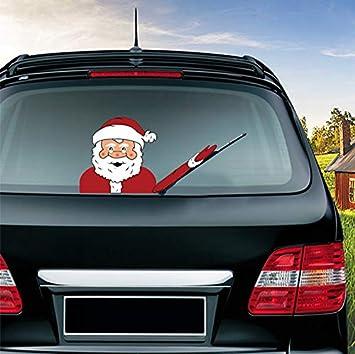 JEYODA Elk Santa Wiper Sticker Removable Car Rear Windshield Wiper Sticker Snowman Car Sticker Shake Arm Sticker Red hat snowman