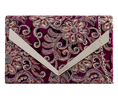 Burgundy Evening Handbag Possum Sequins Clutch Bag Shoulder Purple Bag Floral Ladies Velvet xR46qY4Pw
