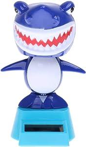 Solar Powered Bobble Toy Animated Solar Bobble Head Toys Desk Top Car Interior Decor Ornament - Shark