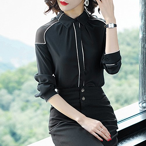 Seda Impacto black Hombro Camisa Holiday Del Ciento La Las Moda Street Color Empalme Mujeres Toma Morera Huelga Tops m De amp;kk L vqfC77