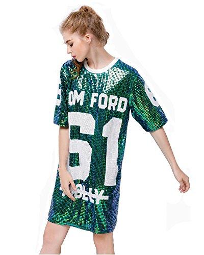 P/&R Womens Fashion Sequins Sparkle Glitter Plus Size Blouses Hip Hop Shirt Tank Top Clubwear P.R