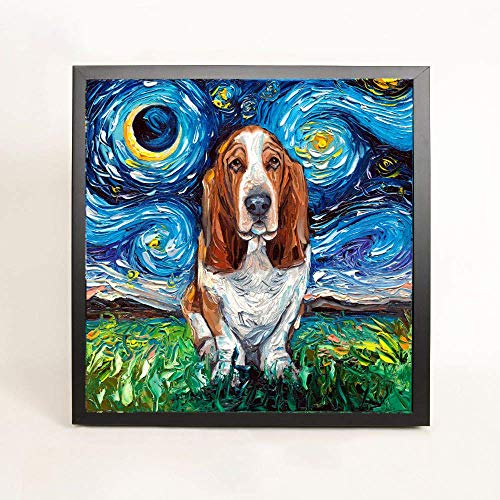 Basset Hound Starry Night Brussels Griffon Dog Art FRAMED CANVAS print Aja Wall Decor 8x8, 10x10, 12x12, 16x16, 20x20, 24x24, 30x30 inches ()