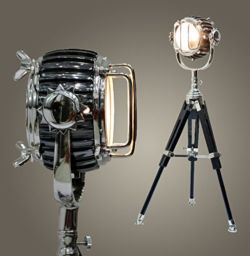Brass-Nautical-Searchlight-with-Wooden-tripod-Studio-Floor-Lamp-Vintage-Modern-Collectible-Chrome-Searchlight-Home-Black-Screw-Tripod-Nautical-Spotlights