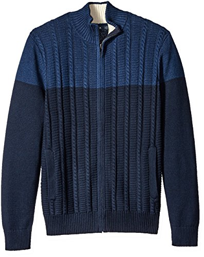 Nautica Men's Zip-Front Cable Knit Cardigan, Navy, S