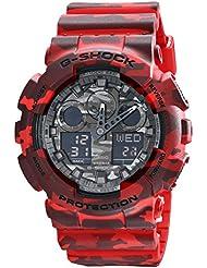 Casio G-Shock Grey Graphic Dial Red Camo Resin Quartz Mens Watch GA100CM-4A