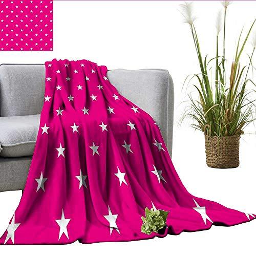- Hot Pink Full Size Blanket Symmetrical Pattern with White Stars Girlish Pattern Lovely Retro Party Tile Charisma blanke Hot Pink White W60 xL62