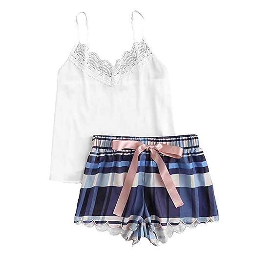 af3983703 Corriee Teen Girls Cute 2PC Pajama Set Camisole Tank Tops Lattice Print  Shorts Comfy Sleepwear at Amazon Women s Clothing store