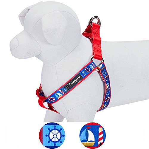 """Blueberry Pet 2 Patterns Step-in Peace Bon Voyage Nautical Blue Dream Designer Dog Harness, Chest Girth 16.5"""" - 21.5"""", Small, Adjustable Harnesses for Dogs"""