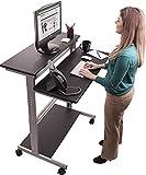 """40"""" Black Shelves Mobile Ergonomic Stand Up Desk Computer Workstation"""