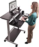 ": 40"" Black Shelves Mobile Ergonomic Stand Up Desk Computer Workstation"