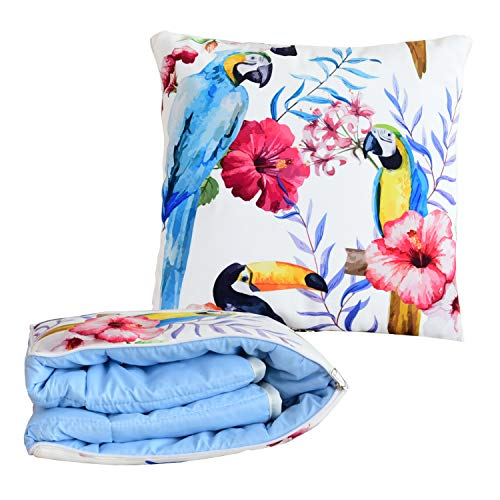 BlueHills Decorative Soft Cozy Couch Pillow Blanket Throw Quilt for Home Airplane Car Travel Movies Kids Beach Camping Blanket 63x43 inches Pillow 16X16 inches in one Home Décor-Blue Parrots-A013