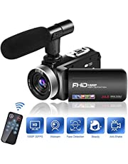 Videokamera Video Camcorder Full HD 1080P 30FPS Camcorder Kamera 18 Fach Digitalzoom Videokamera mit Mikrofon 3 Zoll IPS 270 Grad Drehbildschirm Mini DV Camcorder
