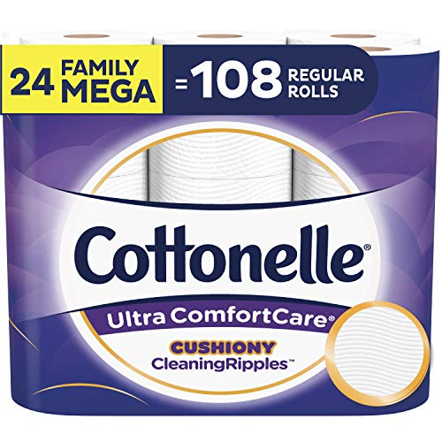 Cottonelle Ultra ComfortCare Toilet Paper with Cushiony CleaningRipples, Soft Biodegradable Bath Tissue, Septic-Safe, Family Mega Rolls, 24 Count (Cottonelle Toilet Paper Bulk)