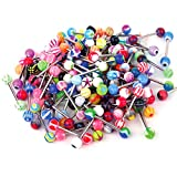 BodyJ4You 100PC 14G Mixed Tongue Rings Barbells Body Piercing Jewelry Lot