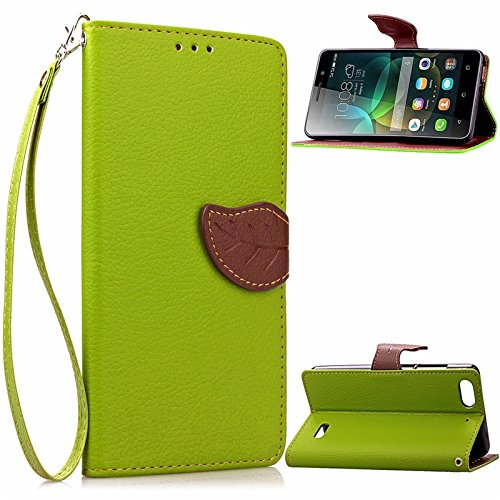 YAJIE-Carcasa Funda Para Huawei Honor 4C Case, Nature Leaf Cierre magnético PU Leather Wallet Flip Case Cover ( Color : Brown ) Green