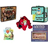 "Children's Gift Bundle - Ages 6-12 [5 Piece] - The Lord of The Rings Stratego Game - Mr. Owl How Many Licks Does It Take Tootsie Pop Metal Lunchbox - Toy Factory Red Bulldog Plush 13"" - My First Atl"