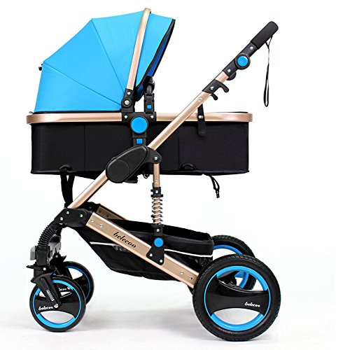 TZ Luxury Newborn Baby Foldable Anti-shock High View Carriage Infant Stroller Pushchair (blue)