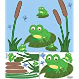 Create-A-Mural Cute Frog Decals Wall Stickers ~ Perfect for Nursery, Baby Room, Preschool, etc.