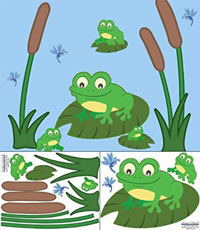 Amazon.com : Create-A-Mural Cute Frog Decals Wall Stickers ~ Perfect ...