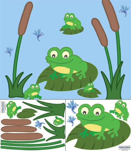 Create-A-Mural Cute Frog Decals Wall Stickers ~ Perfect for Nursery, Baby Room, Preschool, etc. (Mural Frog)