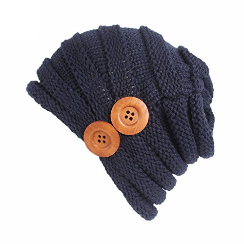 iYBUIA Women Ladies Solid Winter Button Knitting Hat Turban Brim Hat Cap (Navy,One -