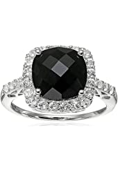 Sterling Silver Onyx and White Sapphire Cushion Cut Ring, Size 7